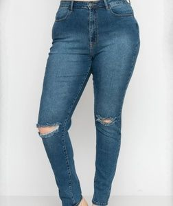 M.A.P High Waisted Distressed Knee Skinny Jeans 2X